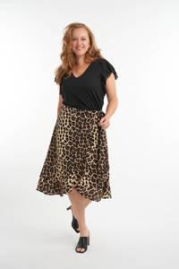 MS Mode rok met panterprint en volant beige/bruin/zwart, Beige/bruin/zwart