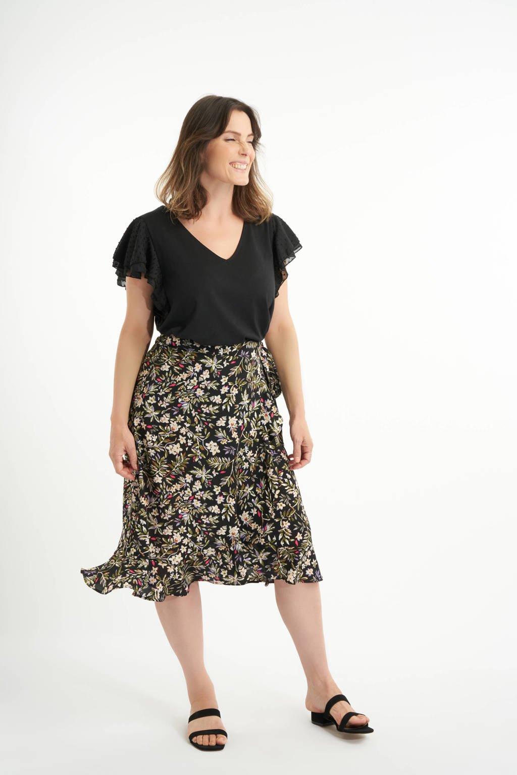 MS Mode gebloemde rok zwart/groen, Zwart/groen