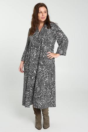 jurk met all over print wit/zwart/groen