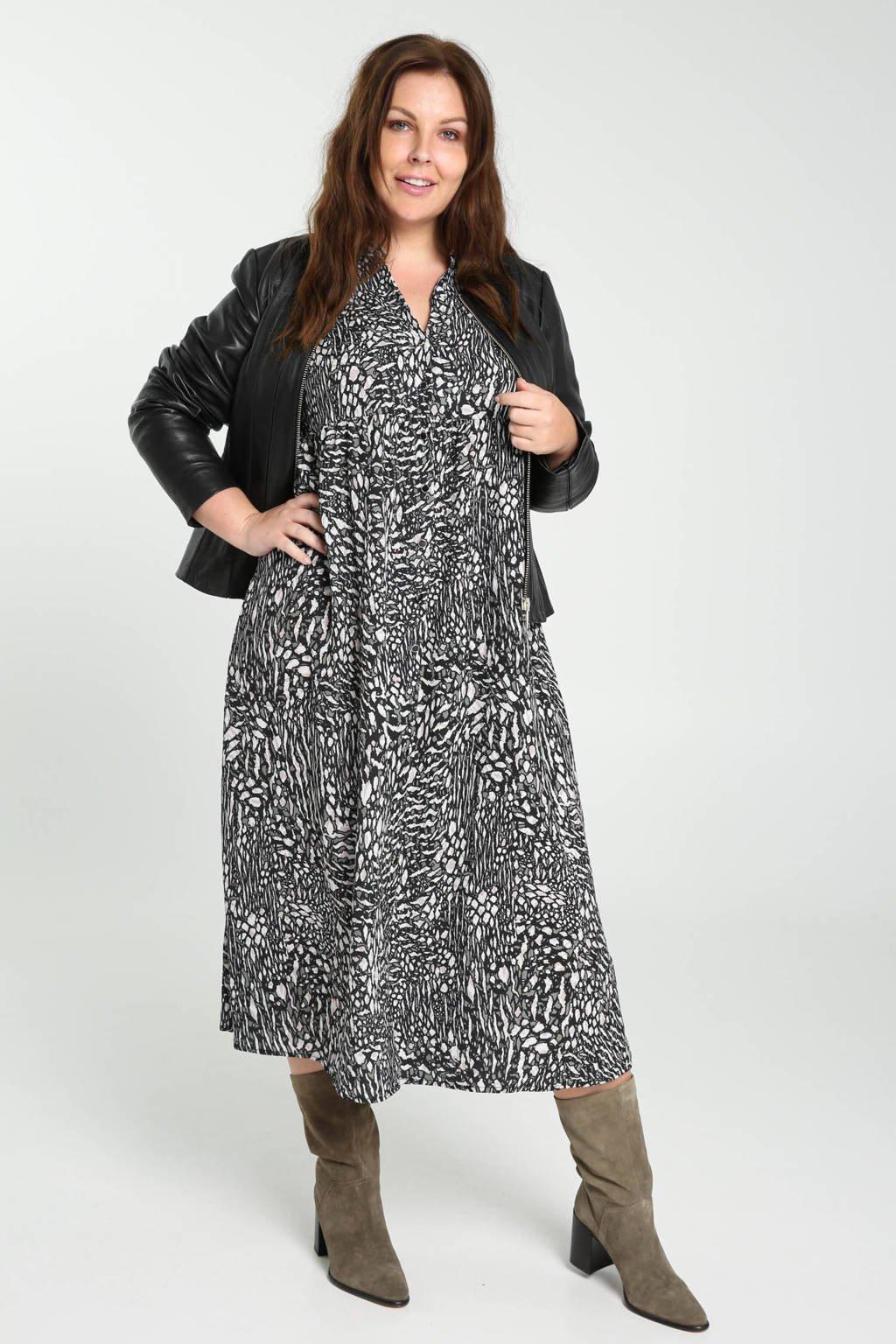 PROMISS jurk met all over print wit/zwart/groen