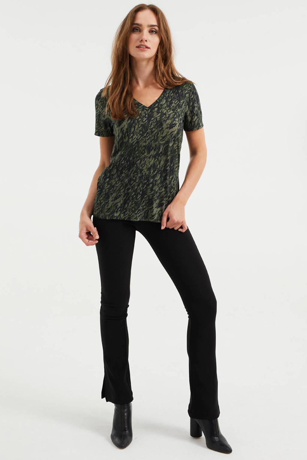 WE Fashion T-shirt met all over print donkergroen/zwart, Donkergroen/zwart