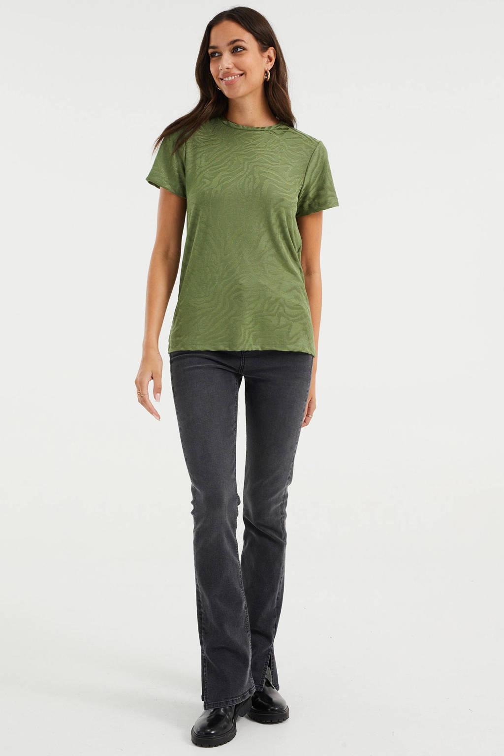 WE Fashion shirt met jacquard donkergroen, Donkergroen