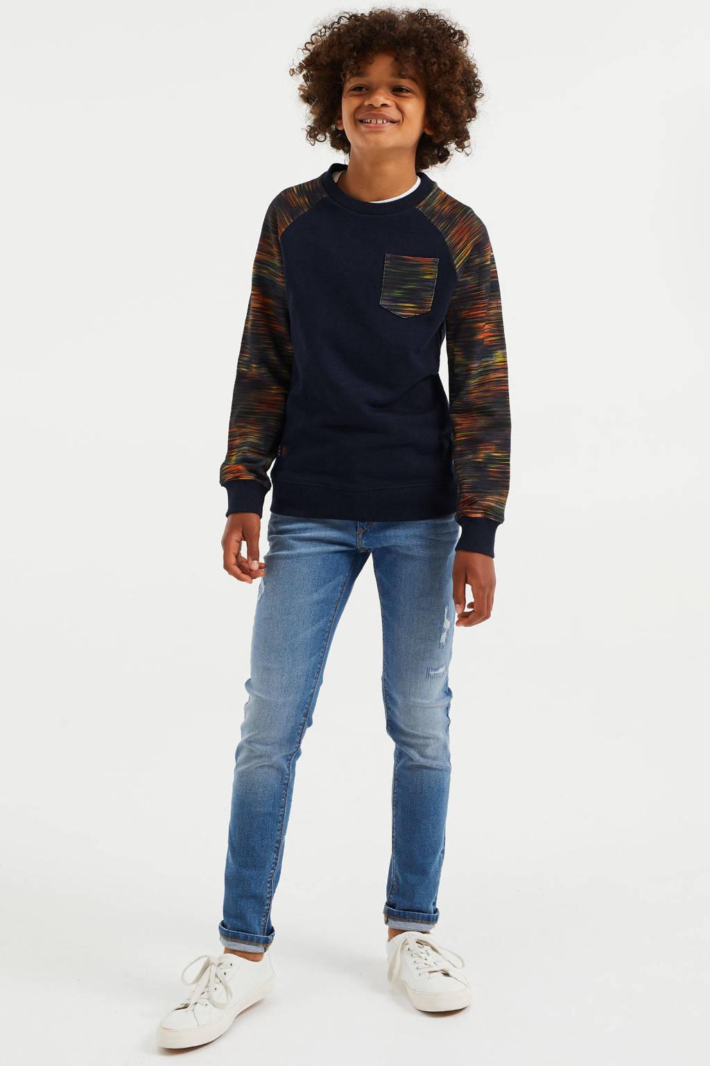 WE Fashion sweater donkerblauw/geel/oranje
