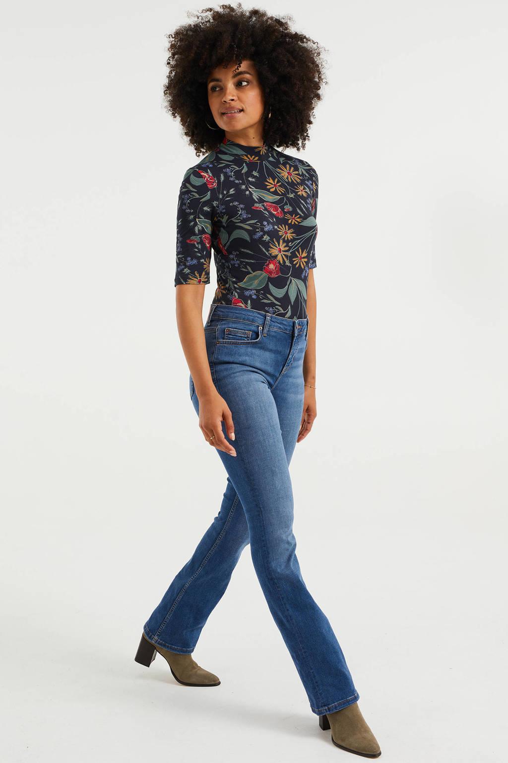 WE Fashion Blue Ridge high waist flared jeans mid blue, Mid blue