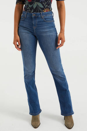 high waist flared jeans mid blue