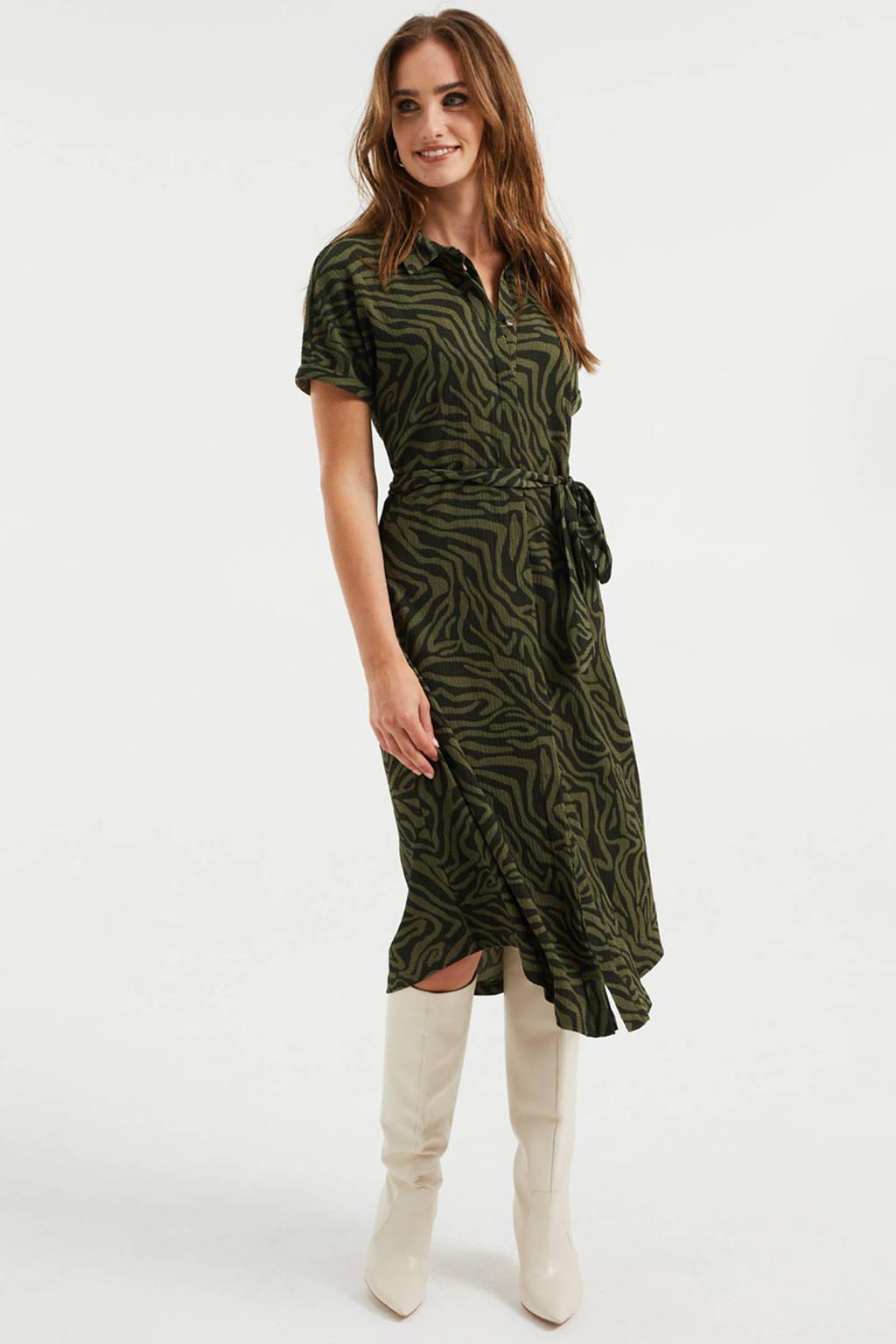WE Fashion blousejurk van gerecycled polyester donkergroen/zwart, Donkergroen/zwart