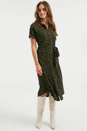 blousejurk van gerecycled polyester donkergroen/zwart