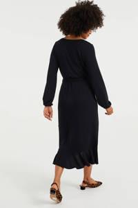 WE Fashion wikkeljurk met volant zwart, Zwart