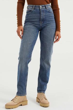 mom jeans marbled blue denim
