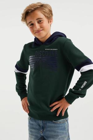 hoodie groen/zwart/wit