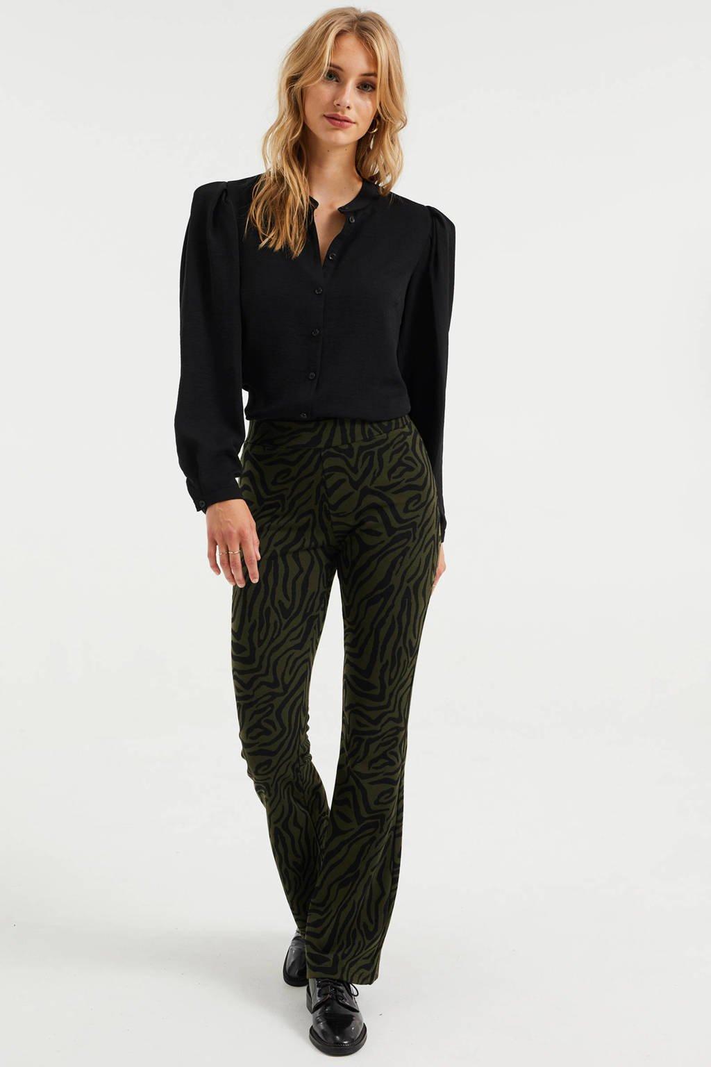 WE Fashion flared broek met zebraprint donkergroen/zwart, Donkergroen/zwart