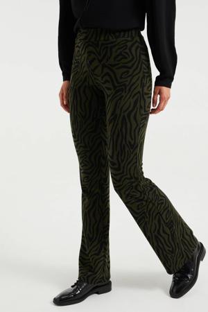 flared broek met zebraprint donkergroen/zwart
