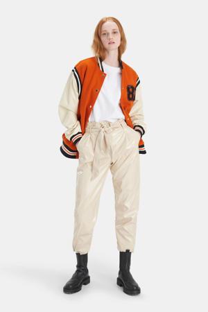 lak high waist straight fit broek beige