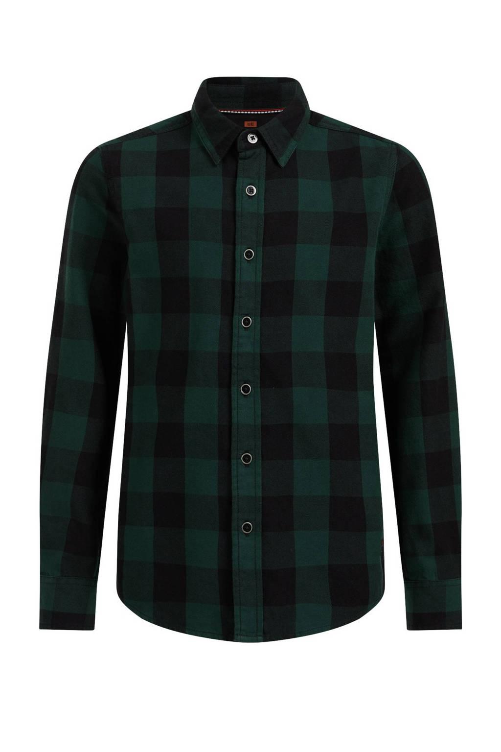 WE Fashion geruite overhemd donkergroen/zwart, Donkergroen/zwart