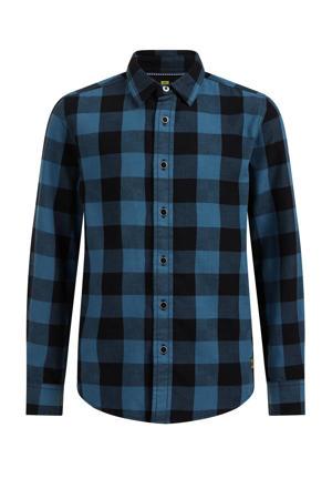 geruite overhemd petrol/zwart