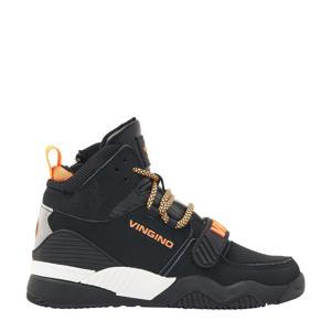 Raoul Mid  hoge leren sneakers zwart/oranje