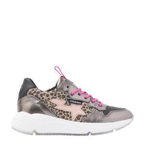 Zetta  leren sneakers met panterprint roze/metallic