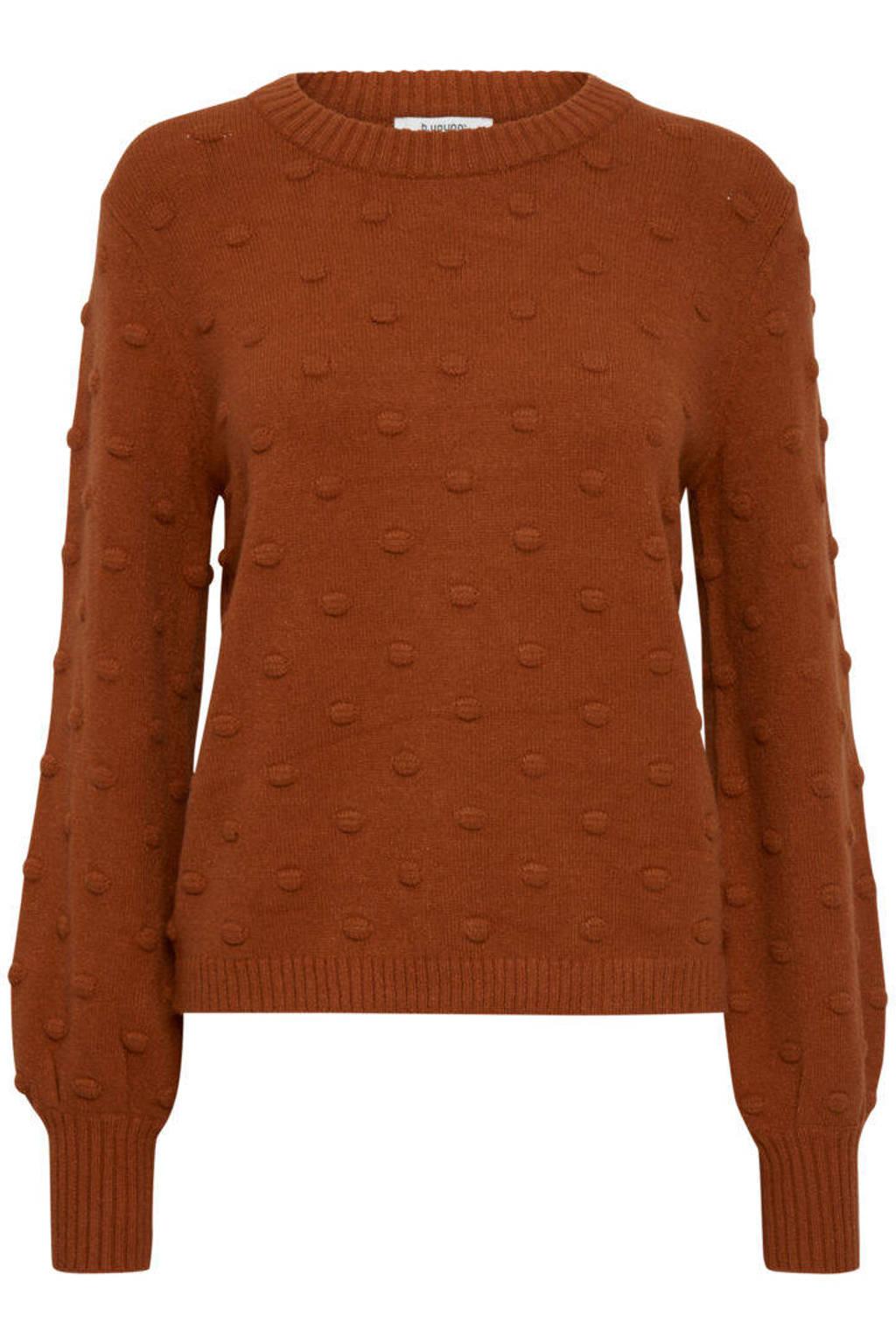B.Young gebreide trui BYNONINA met textuur roodbruin, Roodbruin
