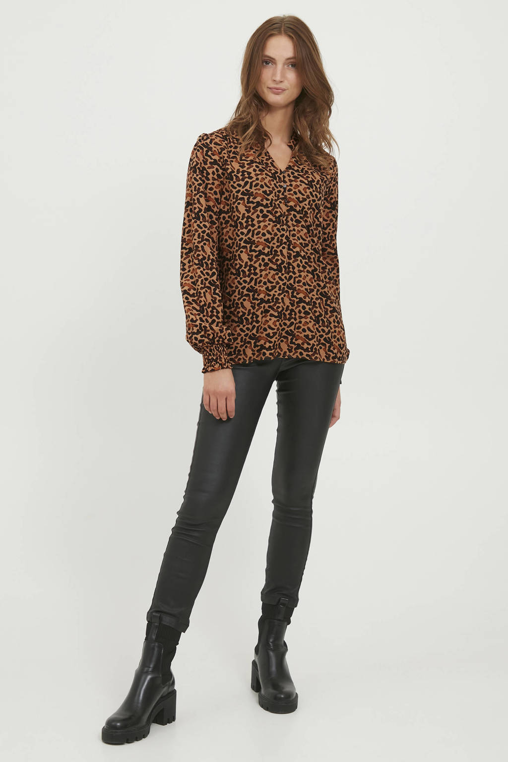 B.Young blouse BYJOSA  met all over print bruin, Bruin