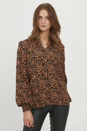blouse BYJOSA  met all over print bruin