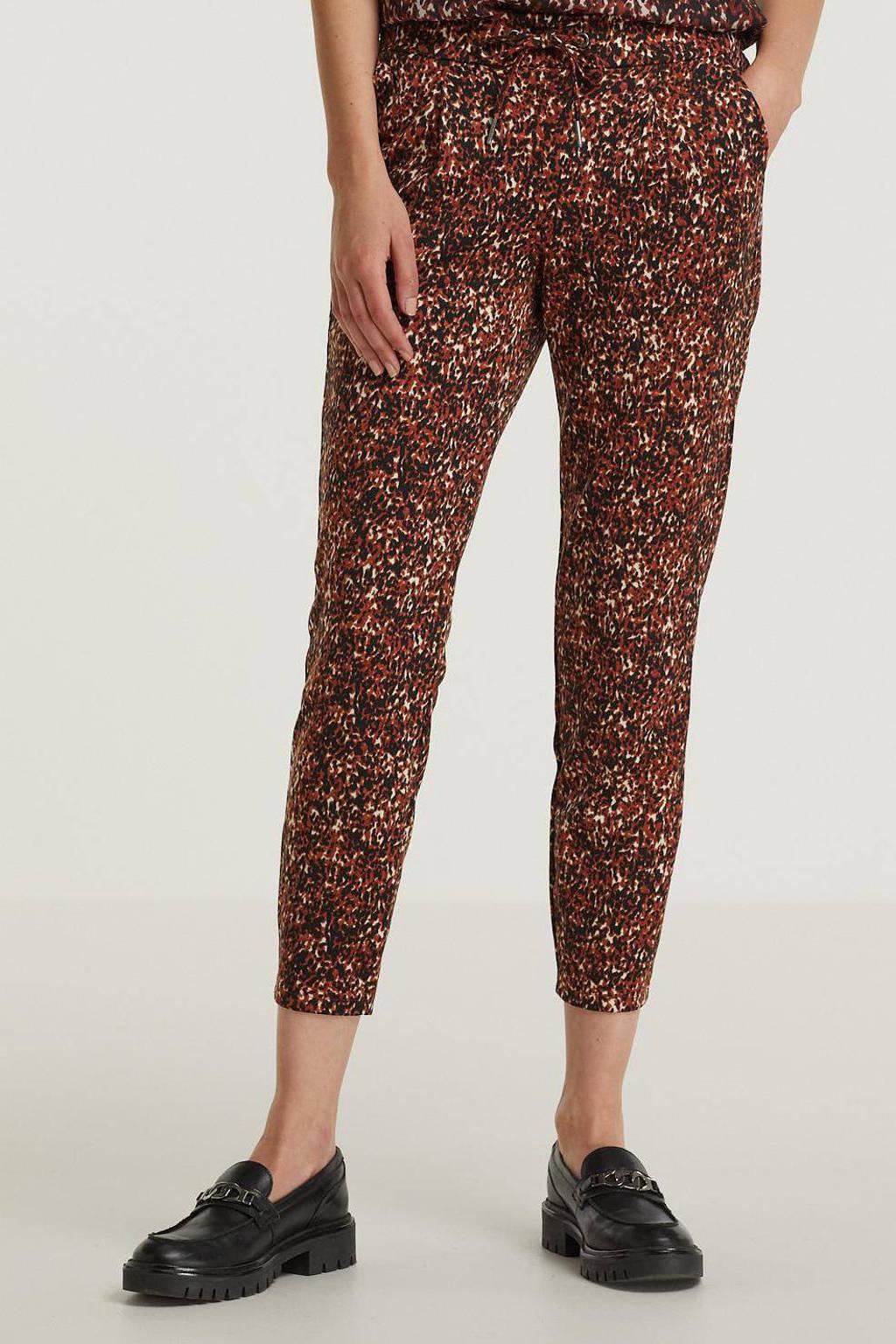 B.Young slim fit joggingbroek Rizetta crop pants - met all over print roodbruin/zwart, Roodbruin/zwart