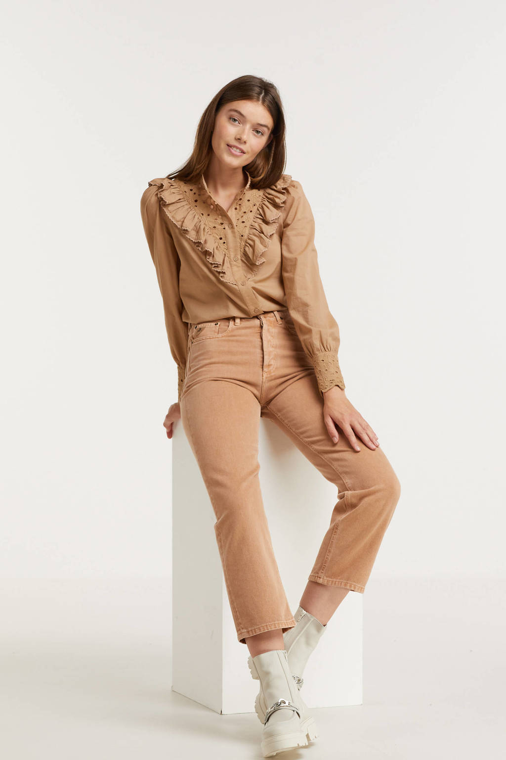 B.Young blouse BYJOFA met ruches camel, Camel