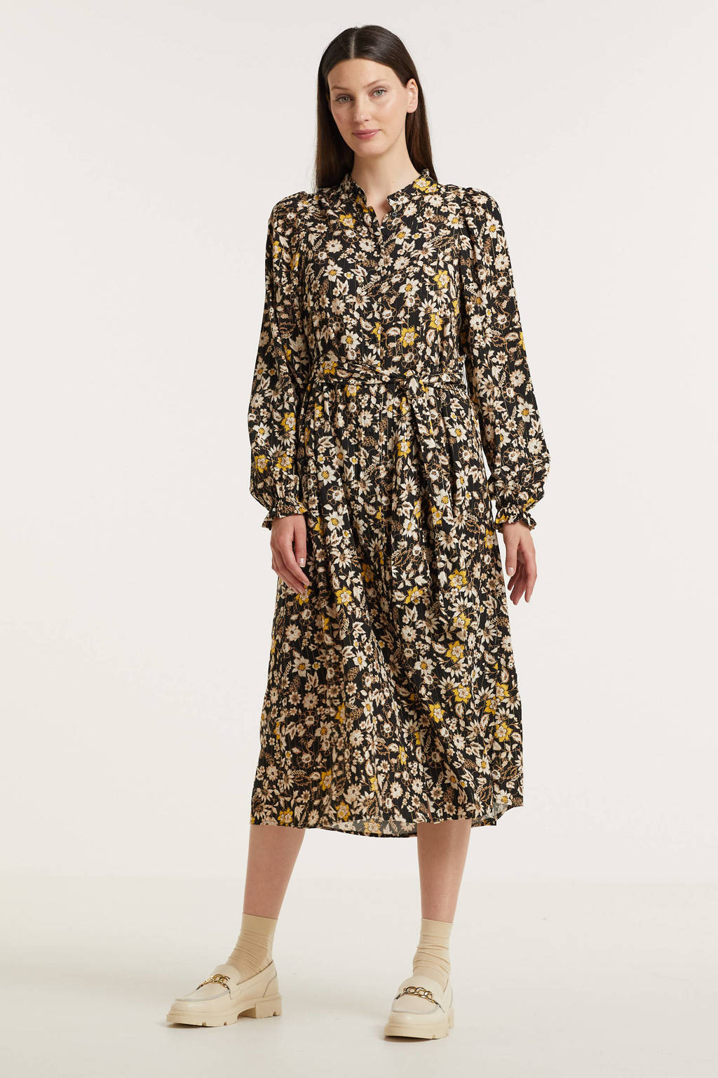 B.Young blousejurk BYFIONNA met all over print en ceintuur zwart/ecru/geel, Zwart/ecru/geel