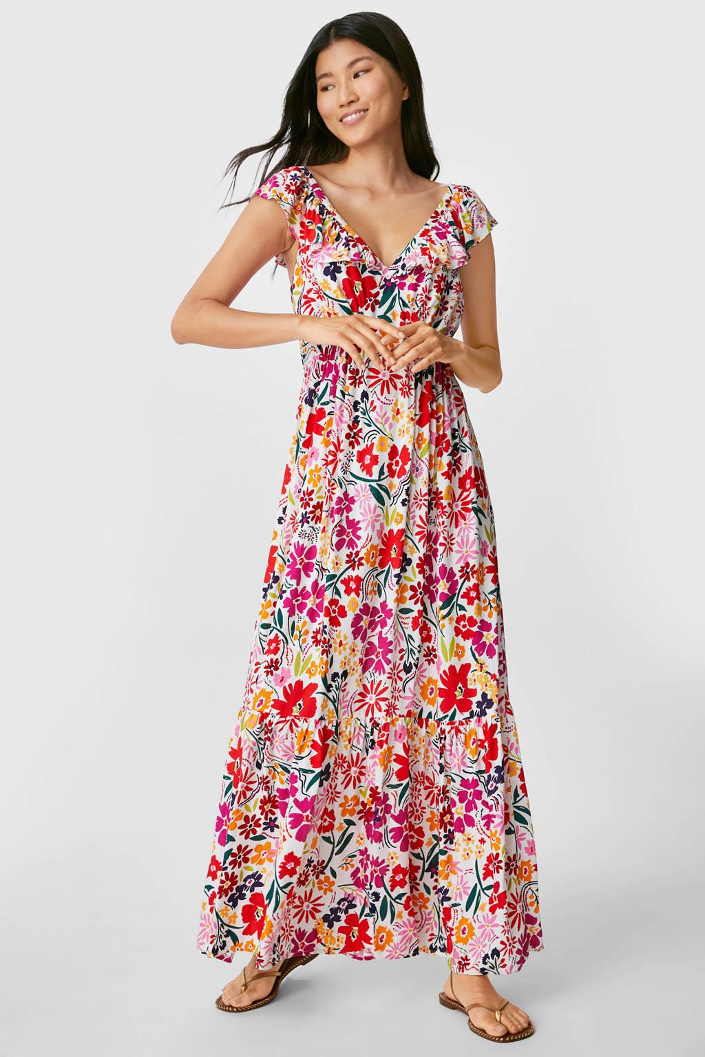 C&A Yessica gebloemde maxi jurk wit/multi, Wit/multi