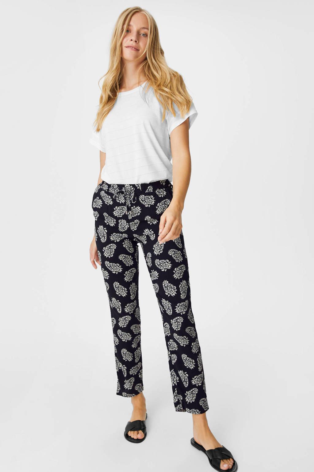 C&A Yessica straight fit broek met all over print zwart/wit, Zwart/wit