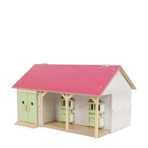 Paardenstal met 2 boxen en berging roze 1:32