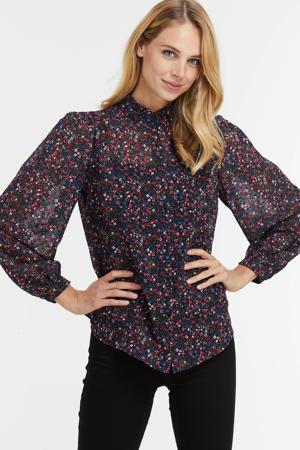 blouse met ruches bloemenprint
