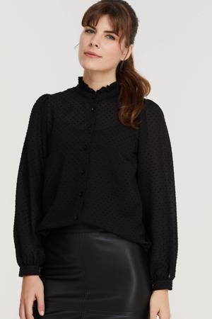 geweven blouse met ruches zwart