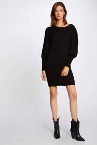 Morgan fijngebreide jurk met plooien zwart, Zwart