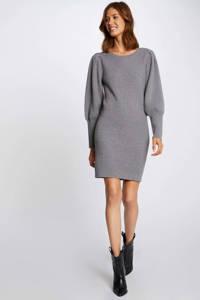 Morgan fijngebreide jurk met plooien gris moyen, GRIS MOYEN