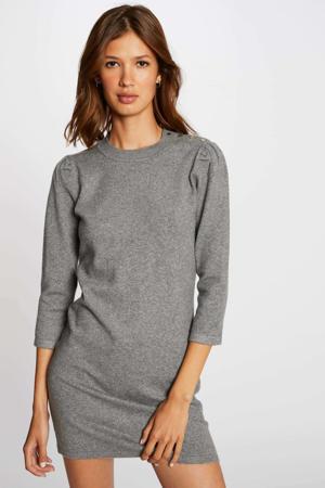 fijngebreide jurk grijs