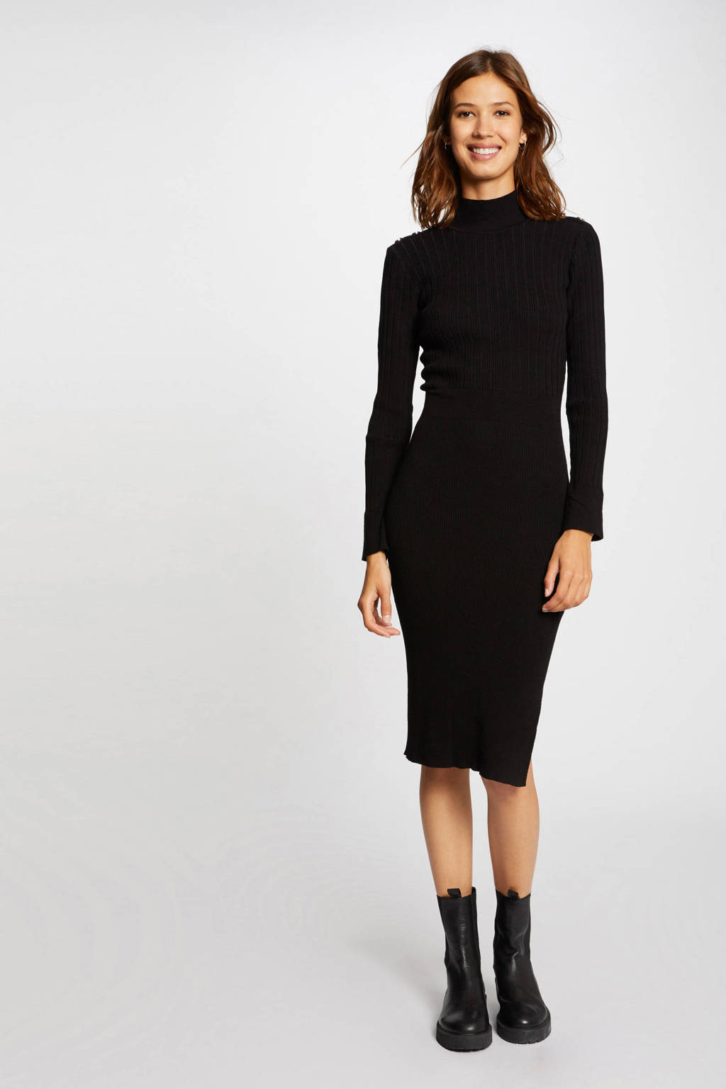 Morgan ribgebreide jurk zwart, Zwart