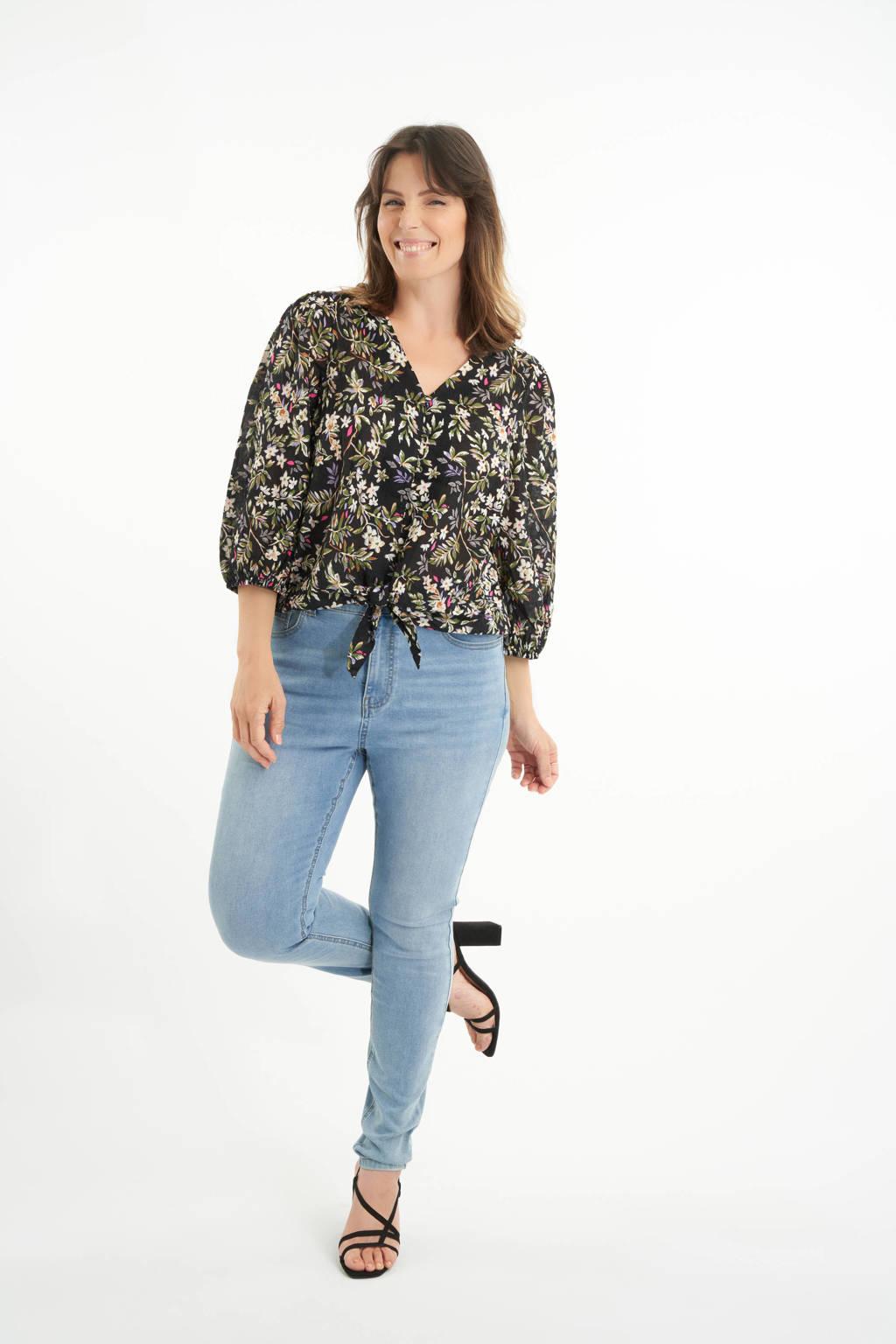 MS Mode loose fit top met bladprint zwart/groen, Zwart/groen