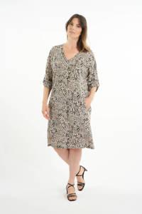 MS Mode loose fit jurk met all over print ecru/zwart, Ecru/zwart