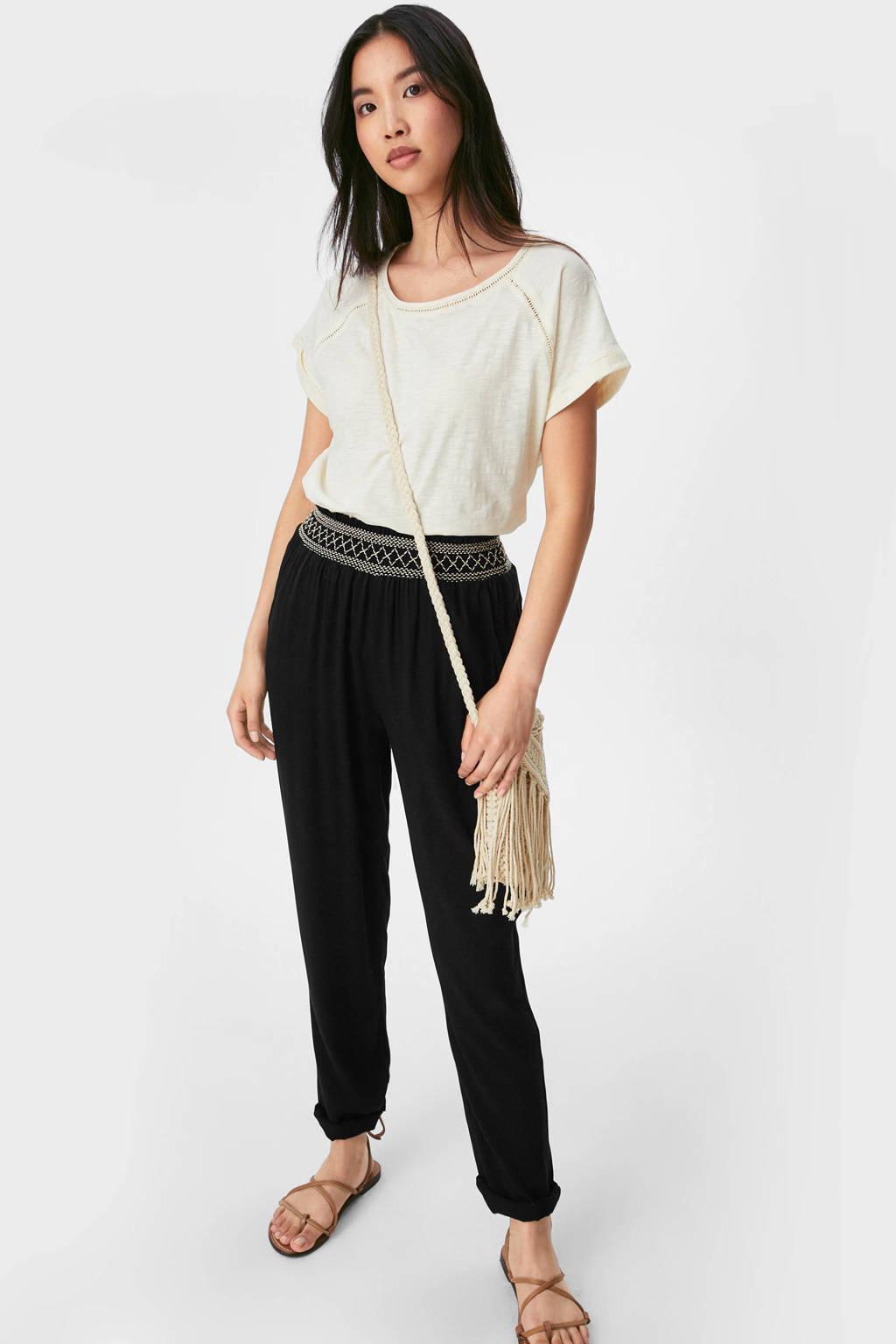 C&A Yessica tapered fit broek met borduursels zwart, Zwart