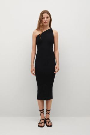 fijngebreide off shoulder jurk zwart