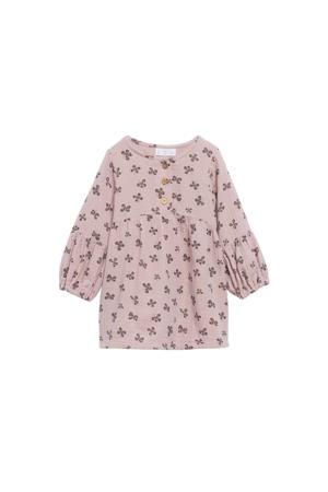 A-lijn jurk met all over print roze/grijs