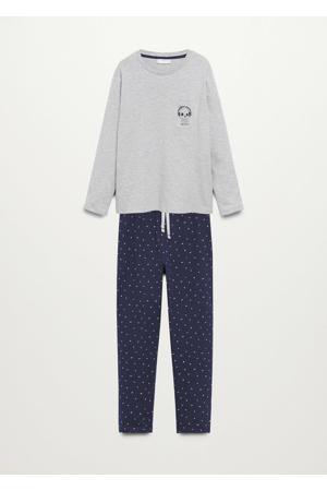pyjama met all over print grijs melange/donkerblauw