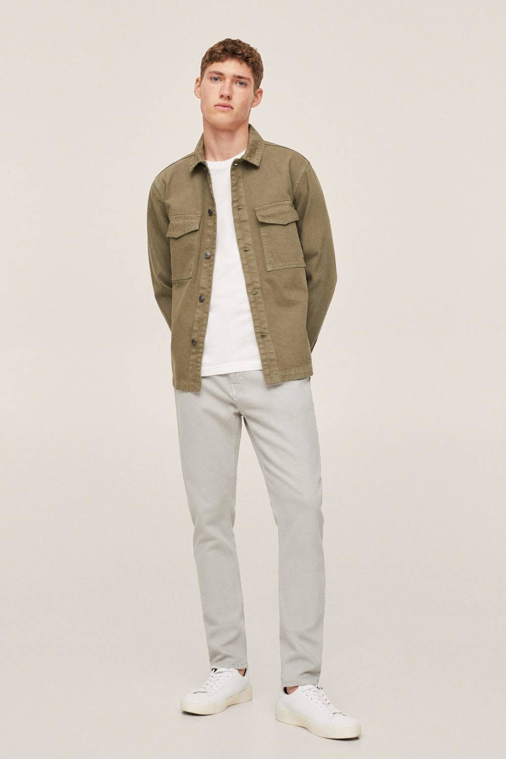 Mango Man tapered fit jeans changeant grijs