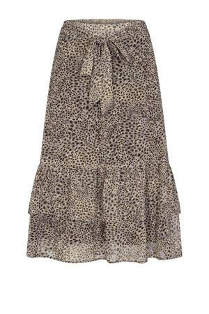 midi rok Titika 2 van gerecycled polyester beige/zwart