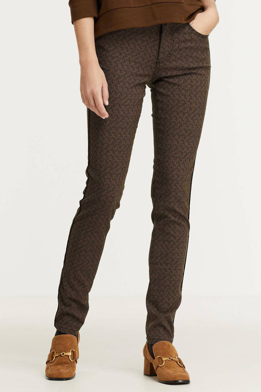 Para Mi high waist skinny broek Celine (Piping) Herringbone Jacquard met all over print bruin/zwart, Bruin/zwart