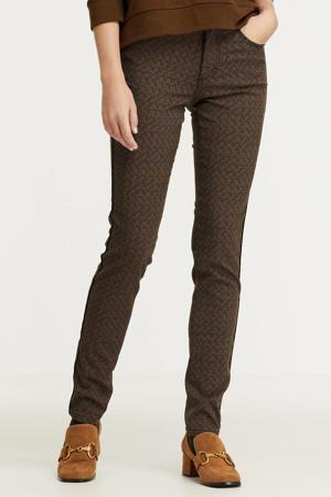 high waist skinny broek Celine (Piping) Herringbone Jacquard met all over print bruin/zwart