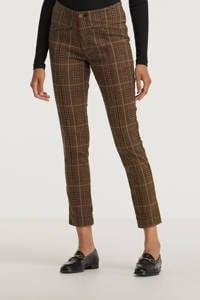 Para Mi geruite high waist super skinny broek Liv Check Jacquard bruin/zwart, Bruin/zwart
