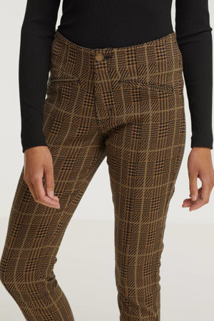 geruite high waist super skinny broek Liv Check Jacquard bruin/zwart