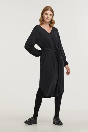 jurk Lana met plooien zwart