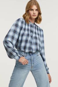 Peppercorn geruite blouse Jemina lichtblauw/zwart/wit, Lichtblauw/zwart/wit